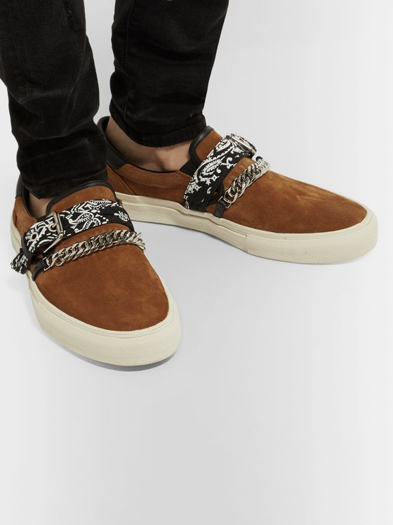 AMIRI Embellished Leather-Trimmed Suede Slip-On Sneakers