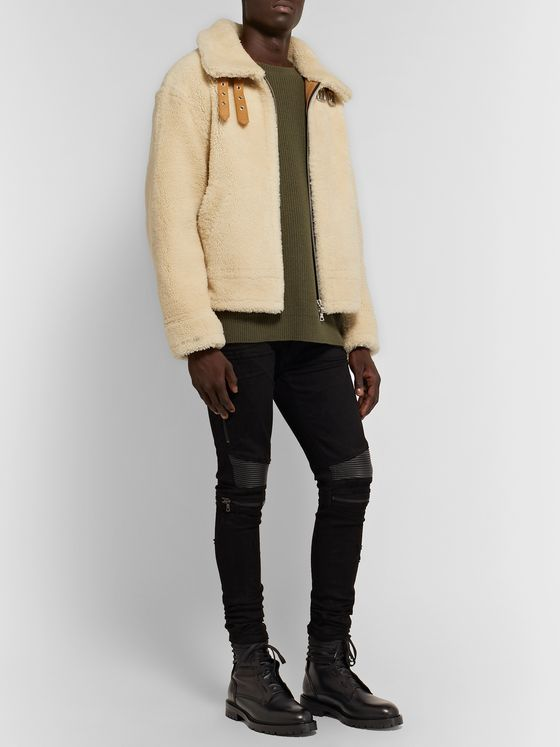 AMIRI Leather-Trimmed Shearling Jacket