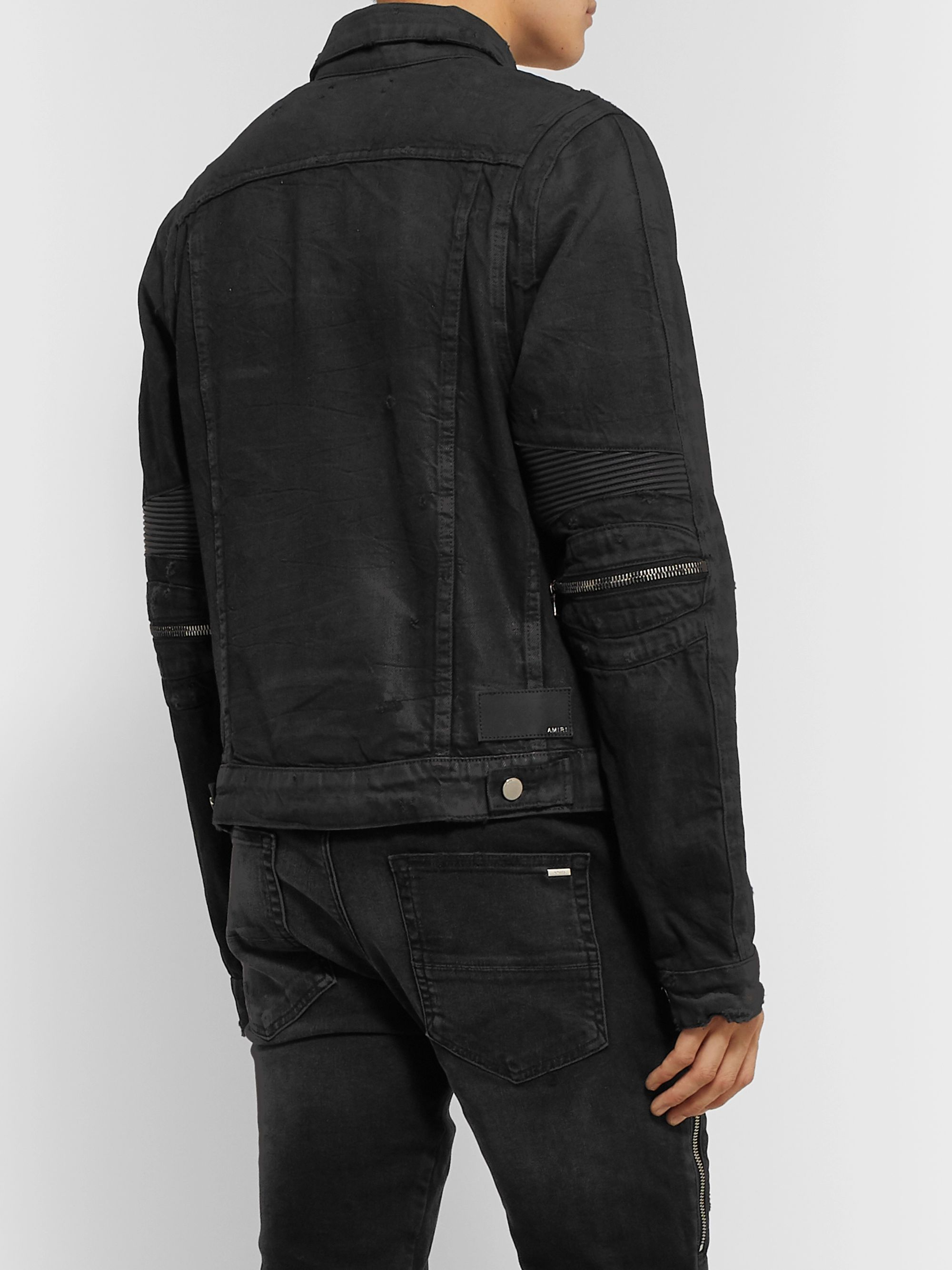 AMIRI MX2 Leather-Panelled Distressed Denim Jacket
