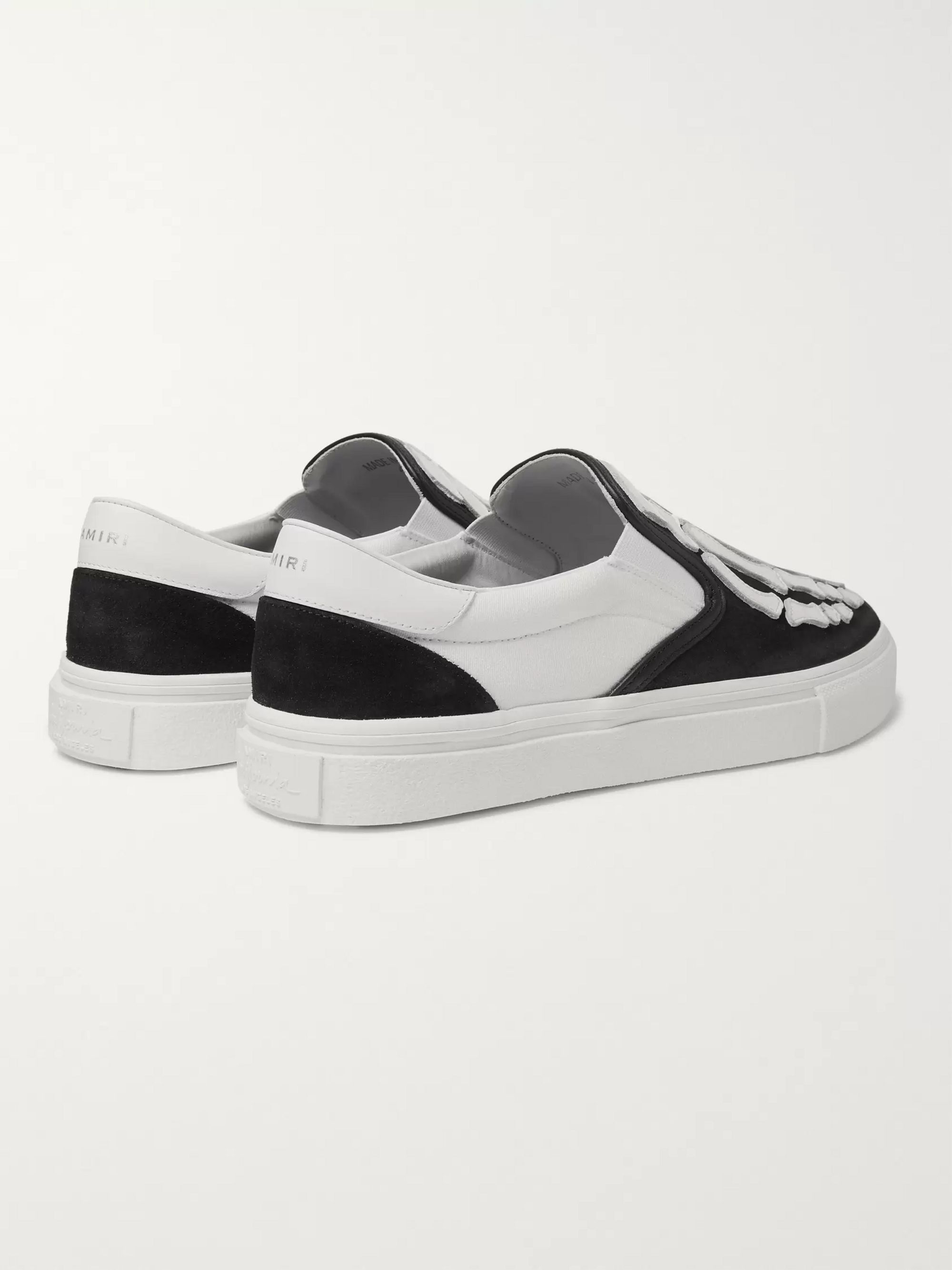 AMIRI Skel Toe Leather-Appliquéd Canvas and Suede Slip-On Sneakers