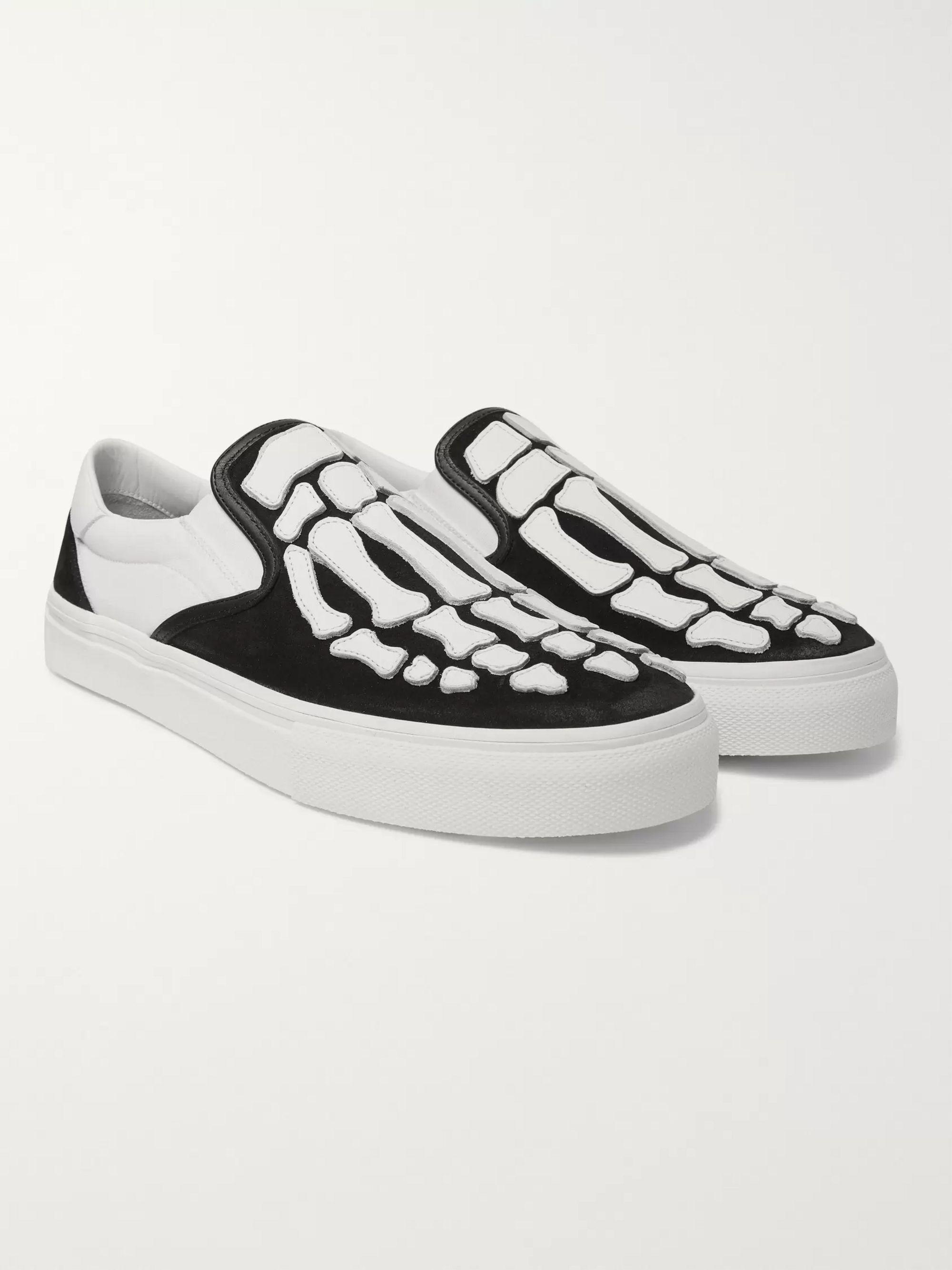 아미리 Amiri Skel Toe Leather-Appliqued Canvas and Suede Slip-On Sneakers,Black