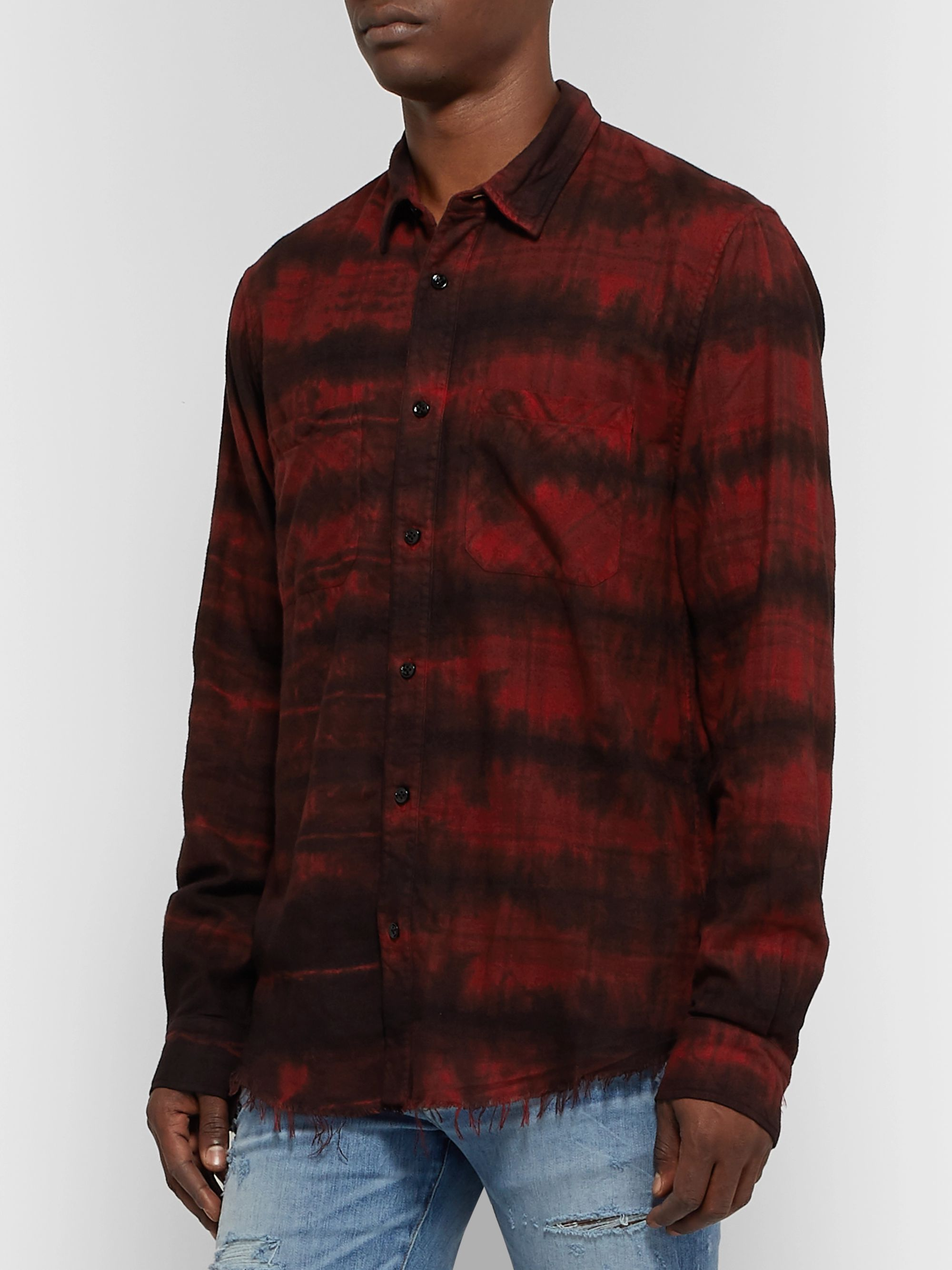 AMIRI Distressed Printed Cotton-Blend Flannel Shirt