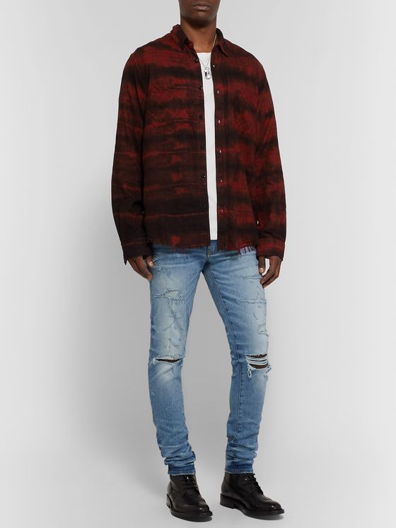 AMIRI Distressed Printed Cotton-Flannel Shirt