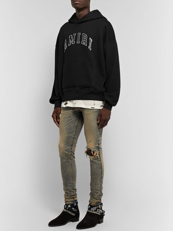 AMIRI Oversized Logo-Appliquéd Leather-Trimmed Loopback Cotton-Jersey Hoodie