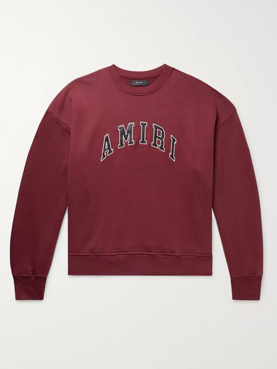 AMIRI Logo-Appliquéd Leather-Trimmed Loopback Cotton-Jersey Sweatshirt