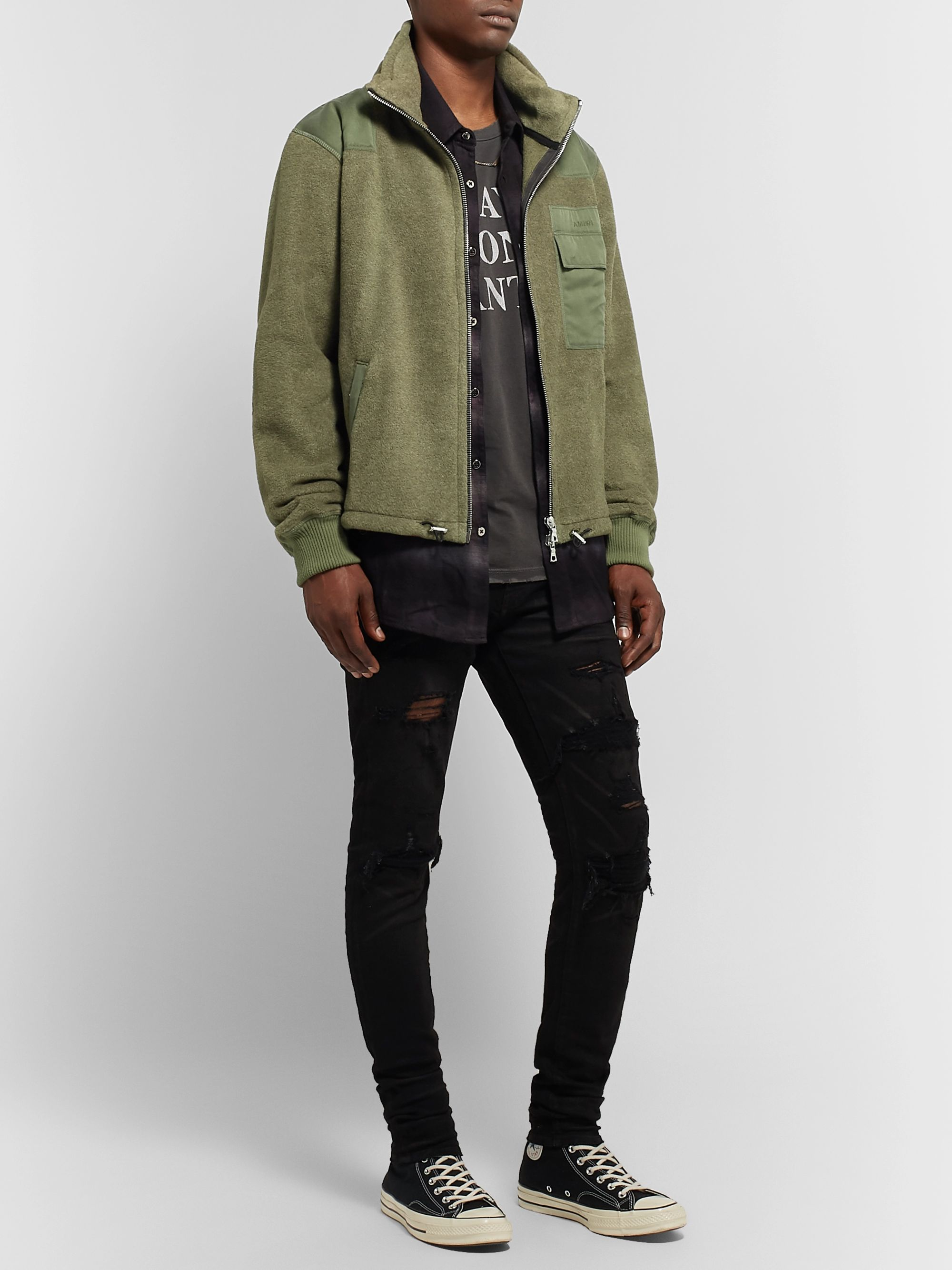 AMIRI Tencel-Trimmed Fleece Jacket