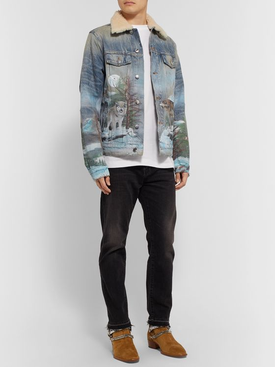 AMIRI Shearling-Trimmed Distressed Printed Denim Trucker Jacket