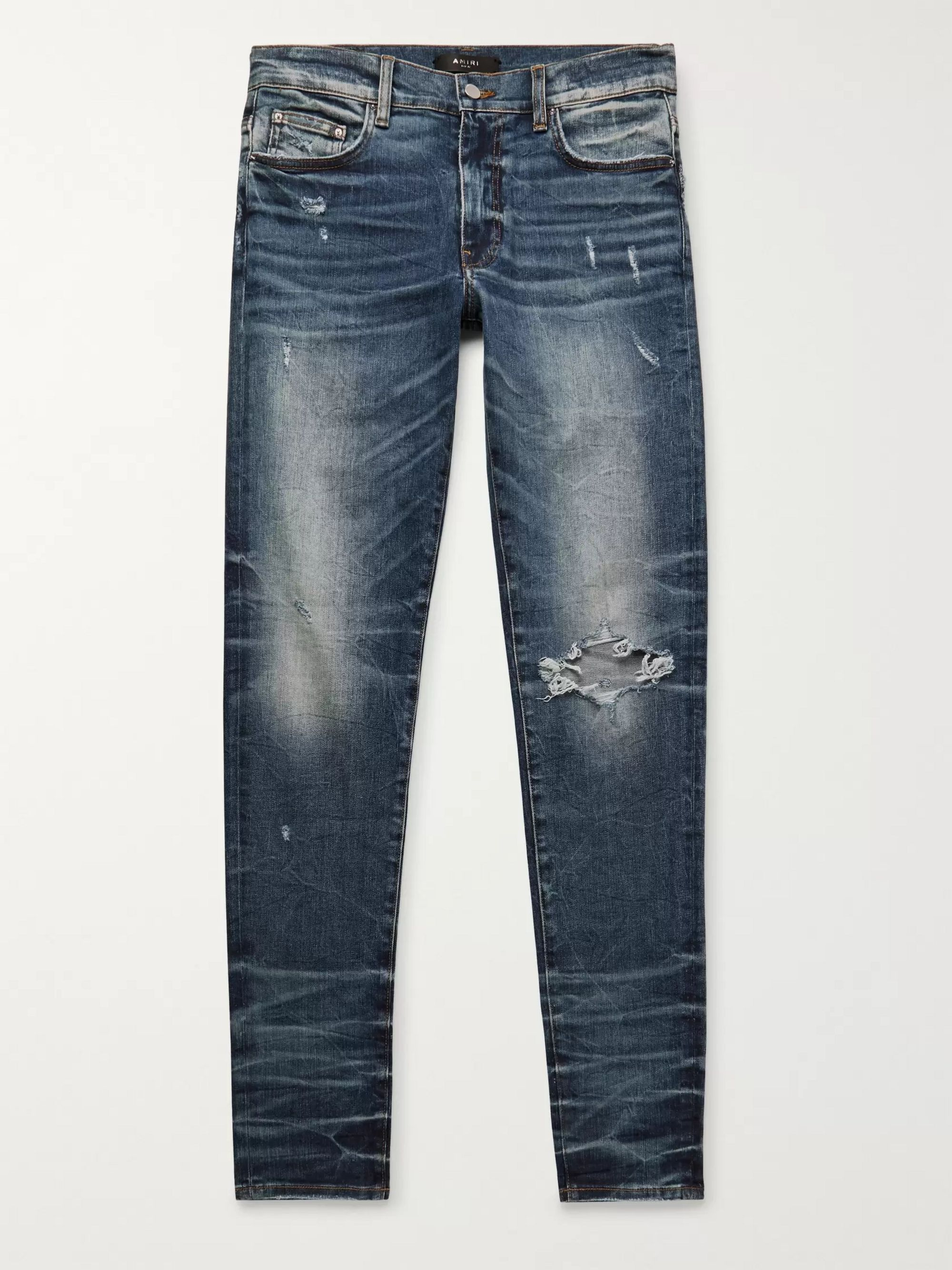 AMIRI Skinny-Fit Distressed Stretch-Denim Jeans