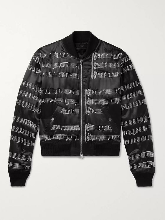 AMIRI Embellished Satin Bomber Jacket