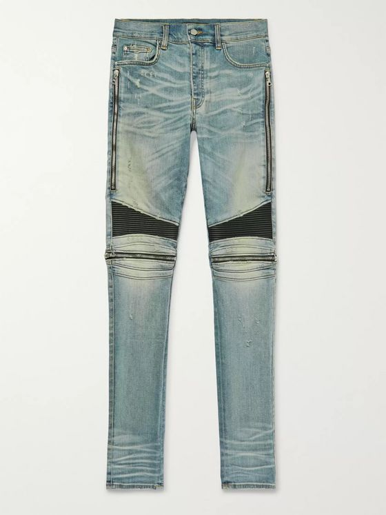 AMIRI MX2 Skinny-Fit Leather-Panelled Distressed Stretch-Denim Jeans
