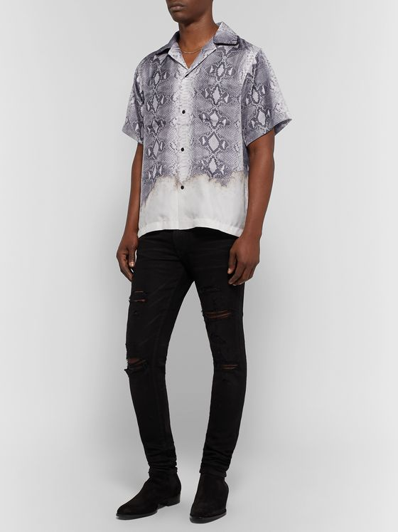 AMIRI Camp-Collar Snake-Print Silk Shirt