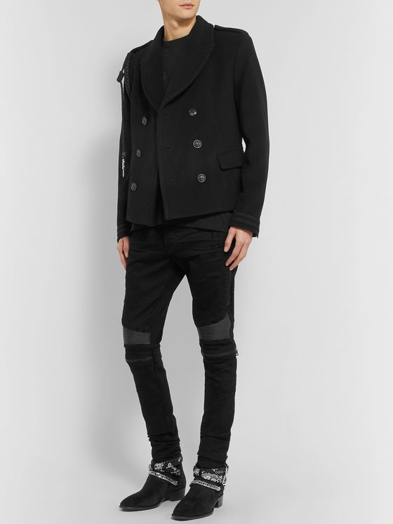 AMIRI Double-Breasted Rope-Trimmed Wool and Cashmere-Blend Coat