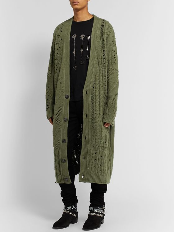 AMIRI Distressed Wool and Cashmere-Blend Cardigan