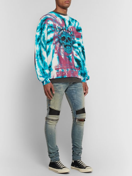 AMIRI Distressed Logo-Print Tie-Dyed Loopback Cotton-Jersey Sweatshirt