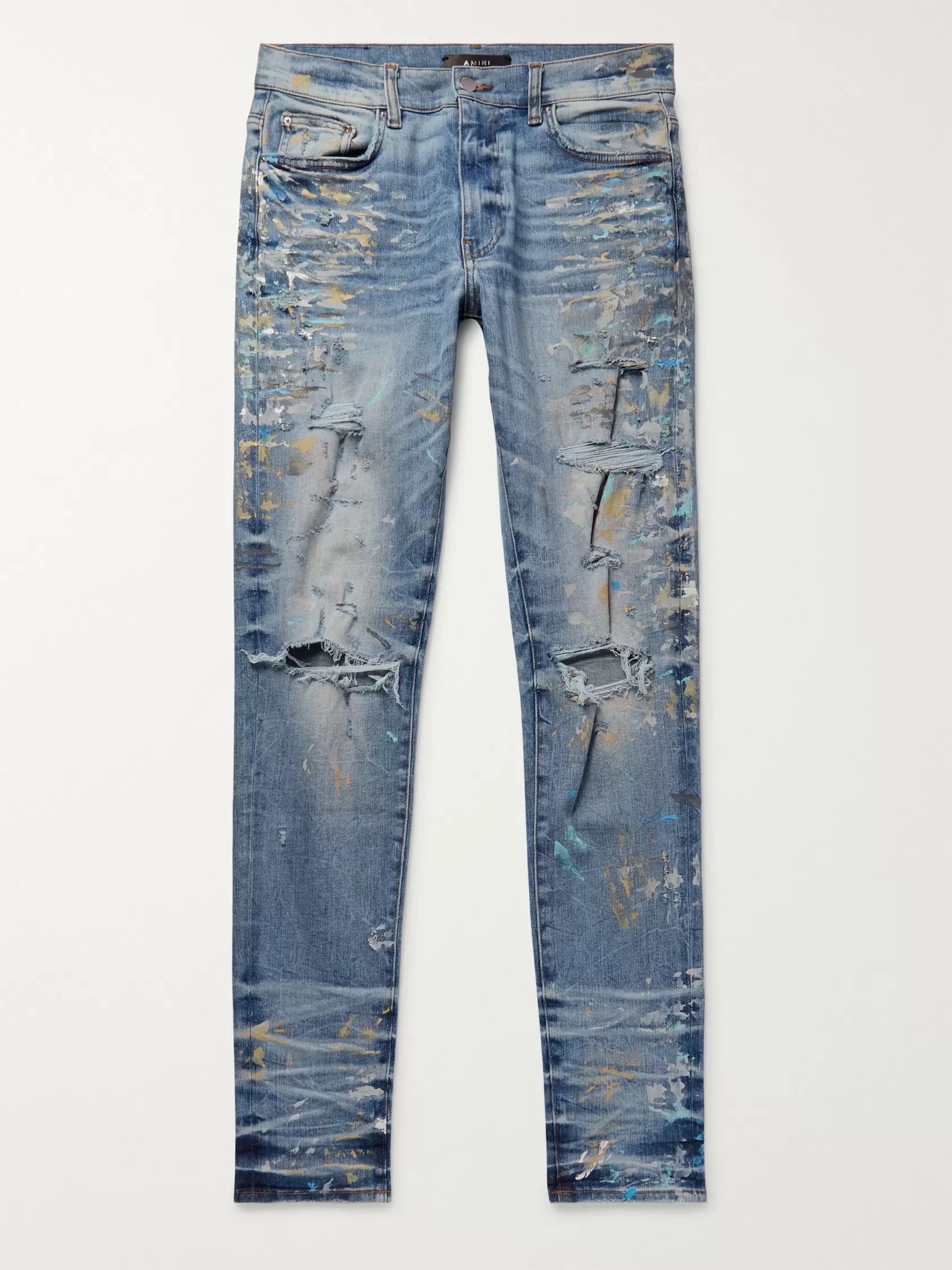 AMIRI Skinny-Fit Distressed Paint-Splattered Stretch-Denim Jeans