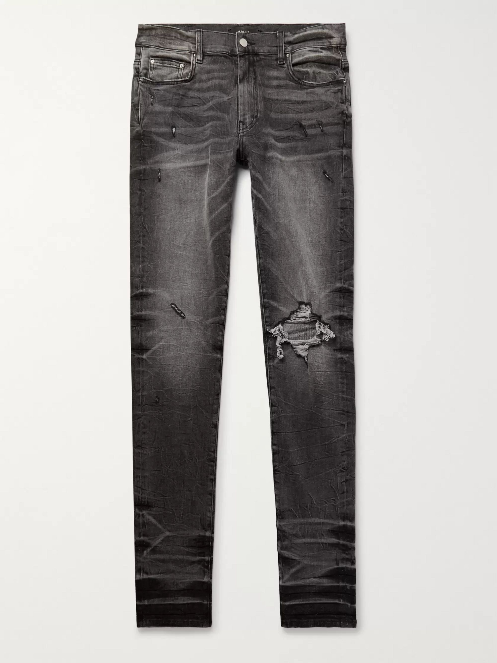 AMIRI Broken Skinny-Fit Distressed Stretch-Denim Jeans