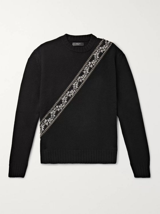 AMIRI Appliquéd Wool and Cashmere-Blend Sweater