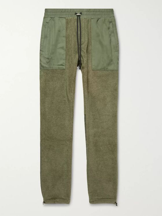 AMIRI Slim-Fit Tencel-Panelled Fleece Drawstring Trousers