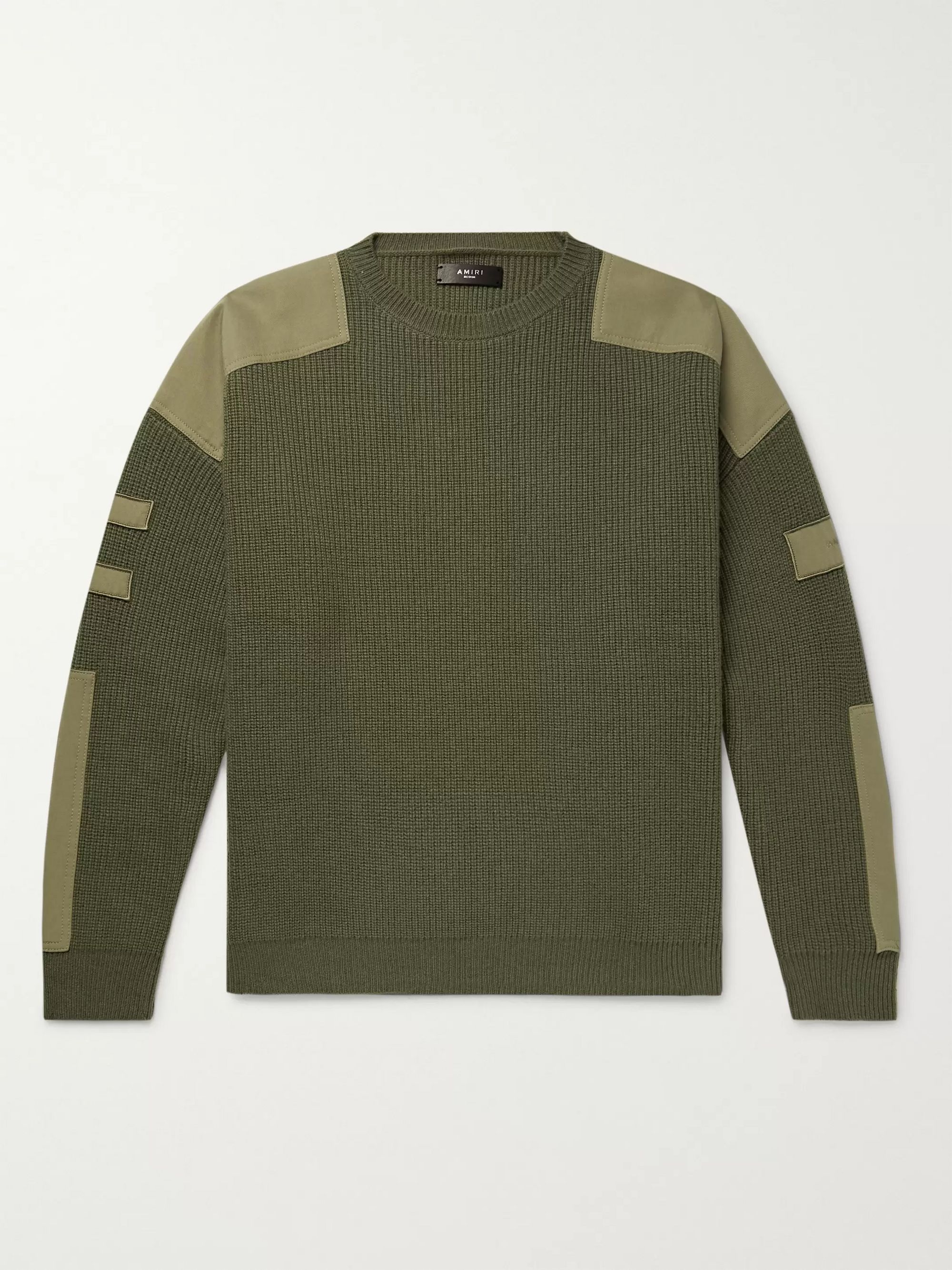 AMIRI Tencel-Trimmed Ribbed Wool and Cashmere-Blend Sweater