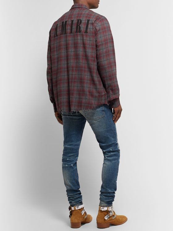 AMIRI Logo-Appliquéd Distressed Checked Cotton-Flannel Shirt