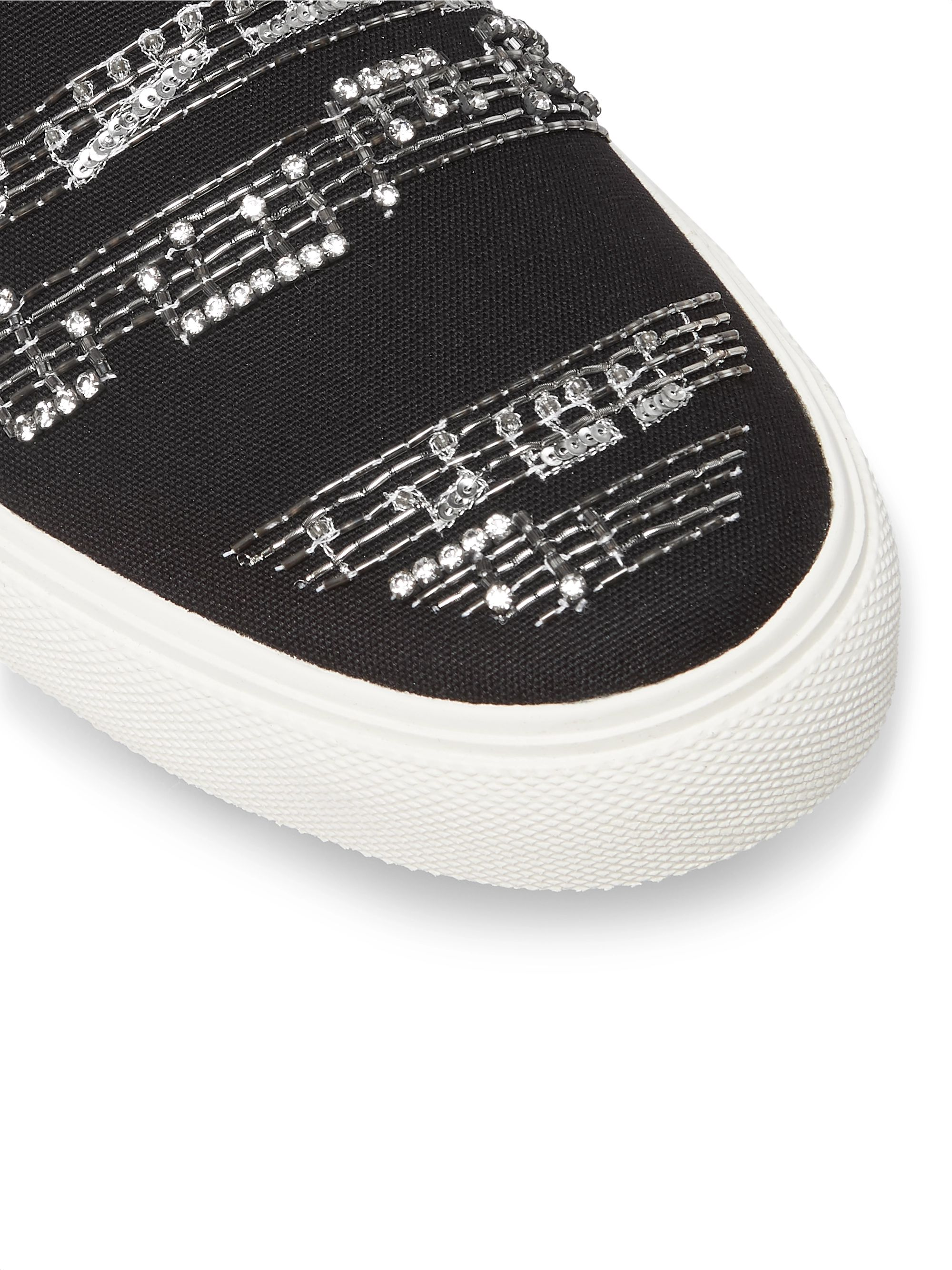 AMIRI Embellished Leather-Trimmed Canvas Slip-On Sneakers
