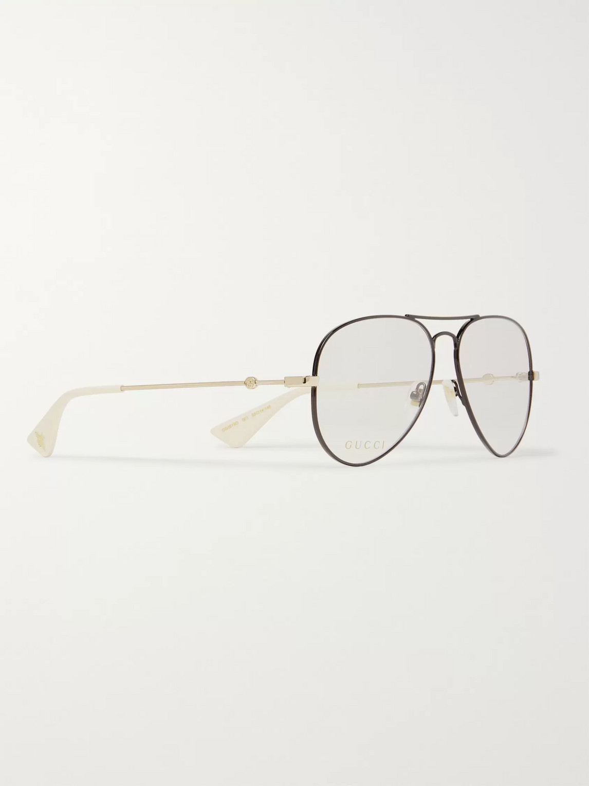 Gucci Opticals AVIATOR-STYLE BLACK AND GOLD-TONE OPTICAL GLASSES