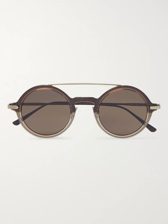 Bottega Veneta Round-Frame Acetate and Gold-Tone Sunglasses