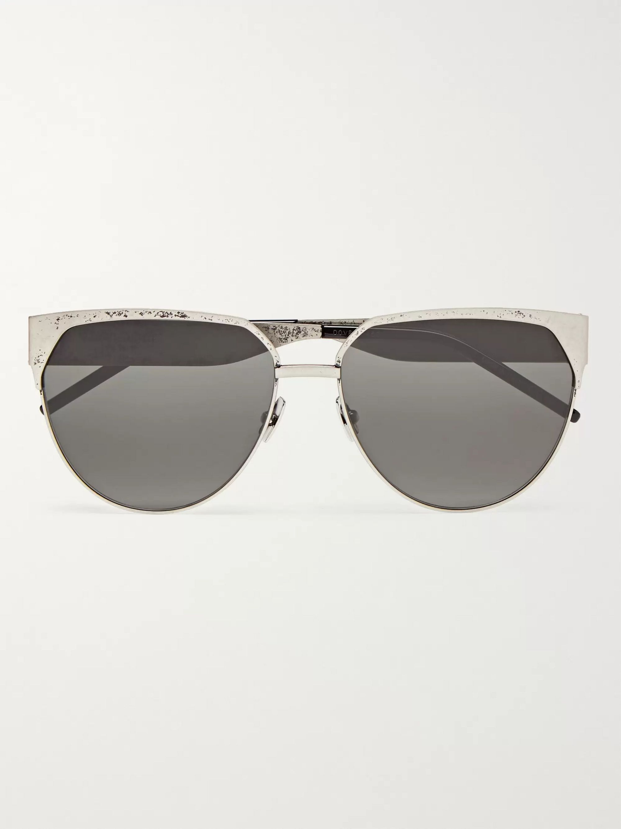 SAINT LAURENT D-Frame Silver-Tone Sunglasses