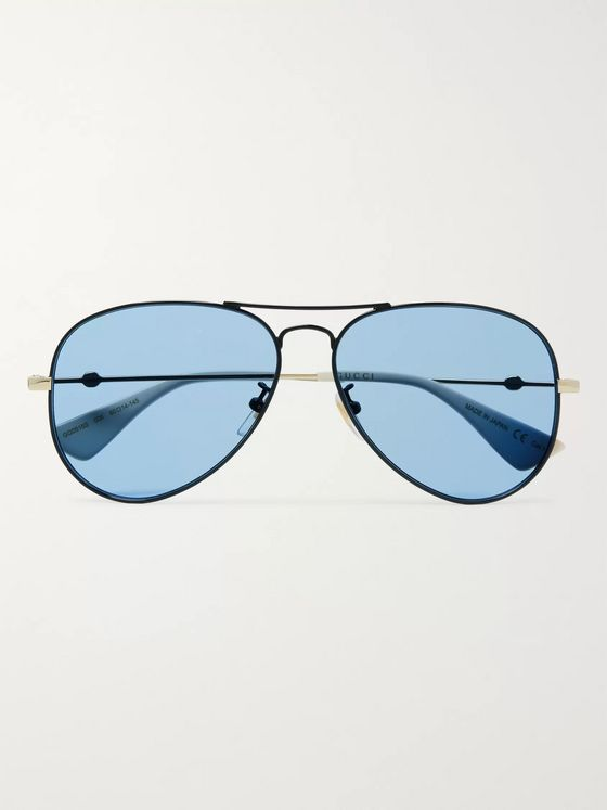 Gucci Aviator-Style Black and Gold-Tone Sunglasses