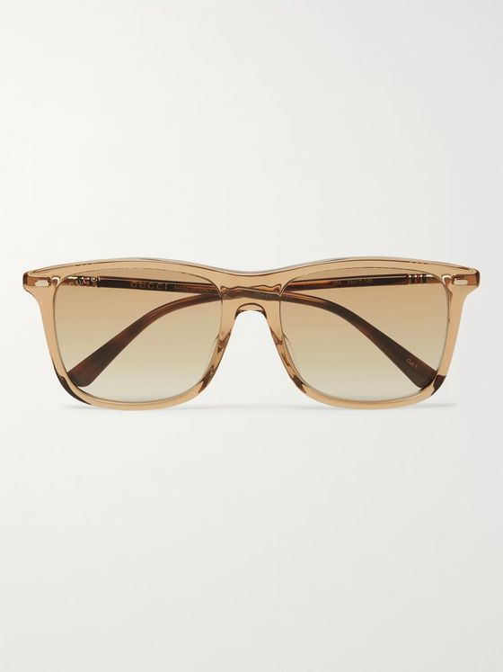 Gucci D-Frame Acetate and Gold-Tone Sunglasses