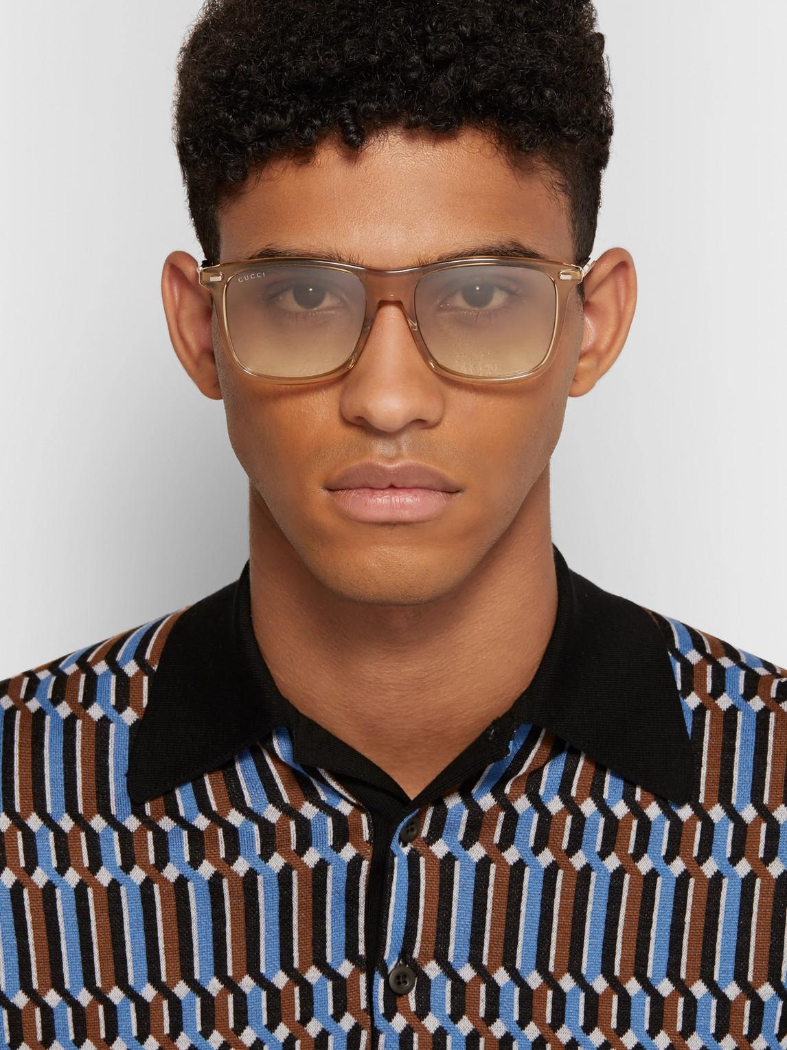 Gucci Sunglasses D-FRAME ACETATE AND GOLD-TONE SUNGLASSES