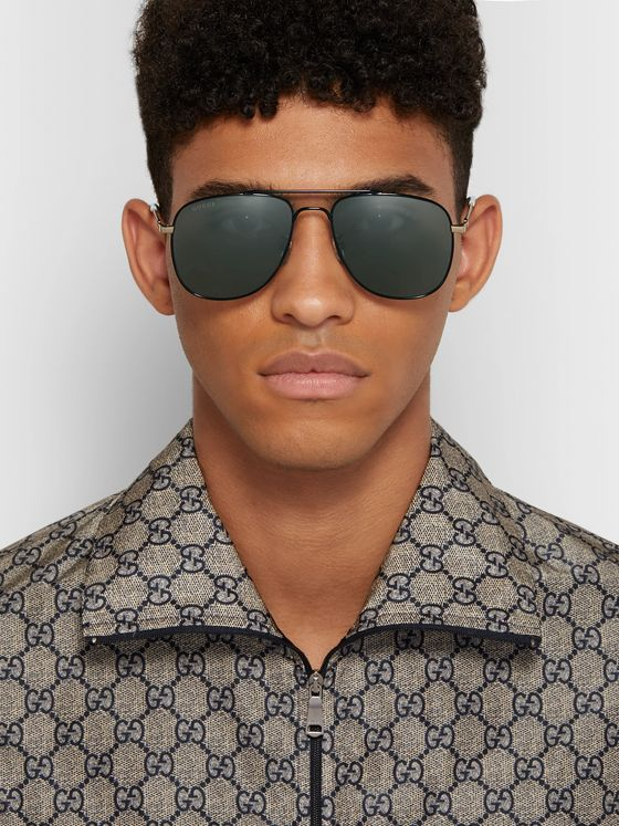 Gucci Aviator-Style Metal Sunglasses