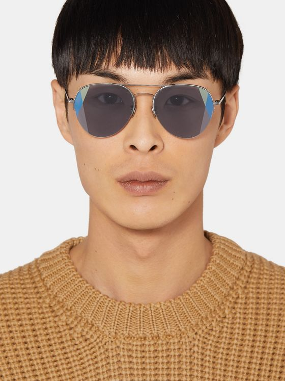 Bottega Veneta Aviator-Style Brushed Silver-Tone Optical Glasses
