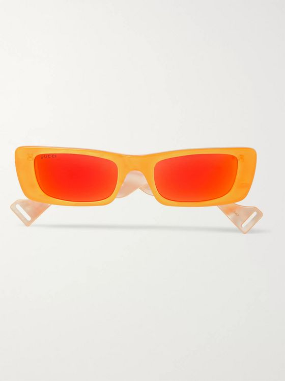 Gucci Rectangle-Frame Acetate Mirrored Sunglasses