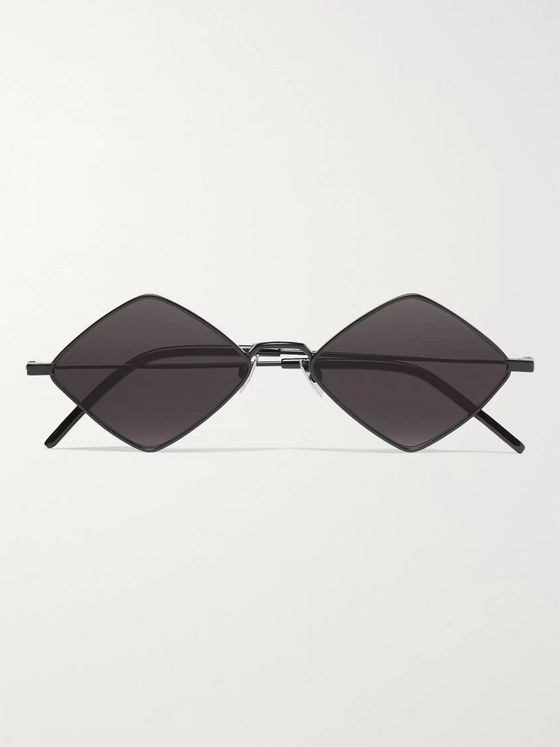 SAINT LAURENT Lisa Diamond-Frame Matte-Metal Sunglasses