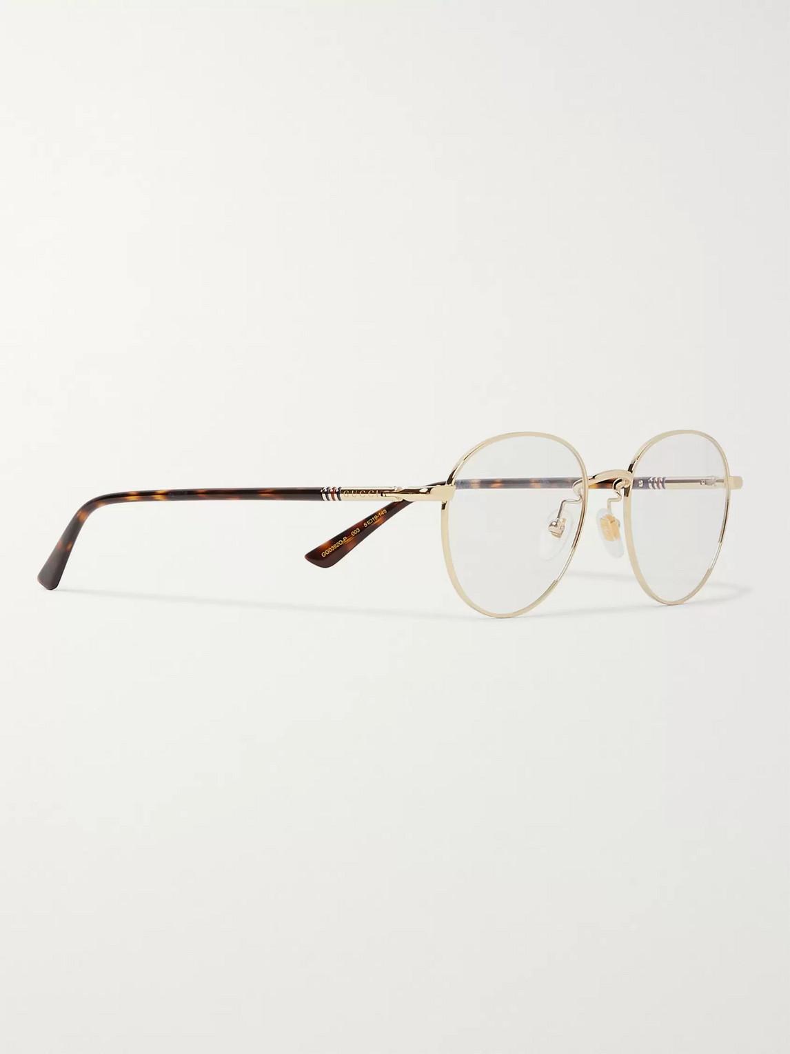 Gucci Opticals ROUND-FRAME GOLD-TONE AND TORTOISESHELL ACETATE OPTICAL GLASSES