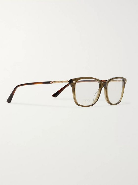 GUCCI Square-Frame Acetate and Gold-Tone Optical Glasses