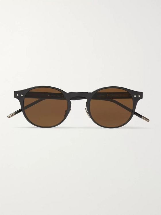 Bottega Veneta Round-Frame Coated-Aluminium and Acetate Sunglasses