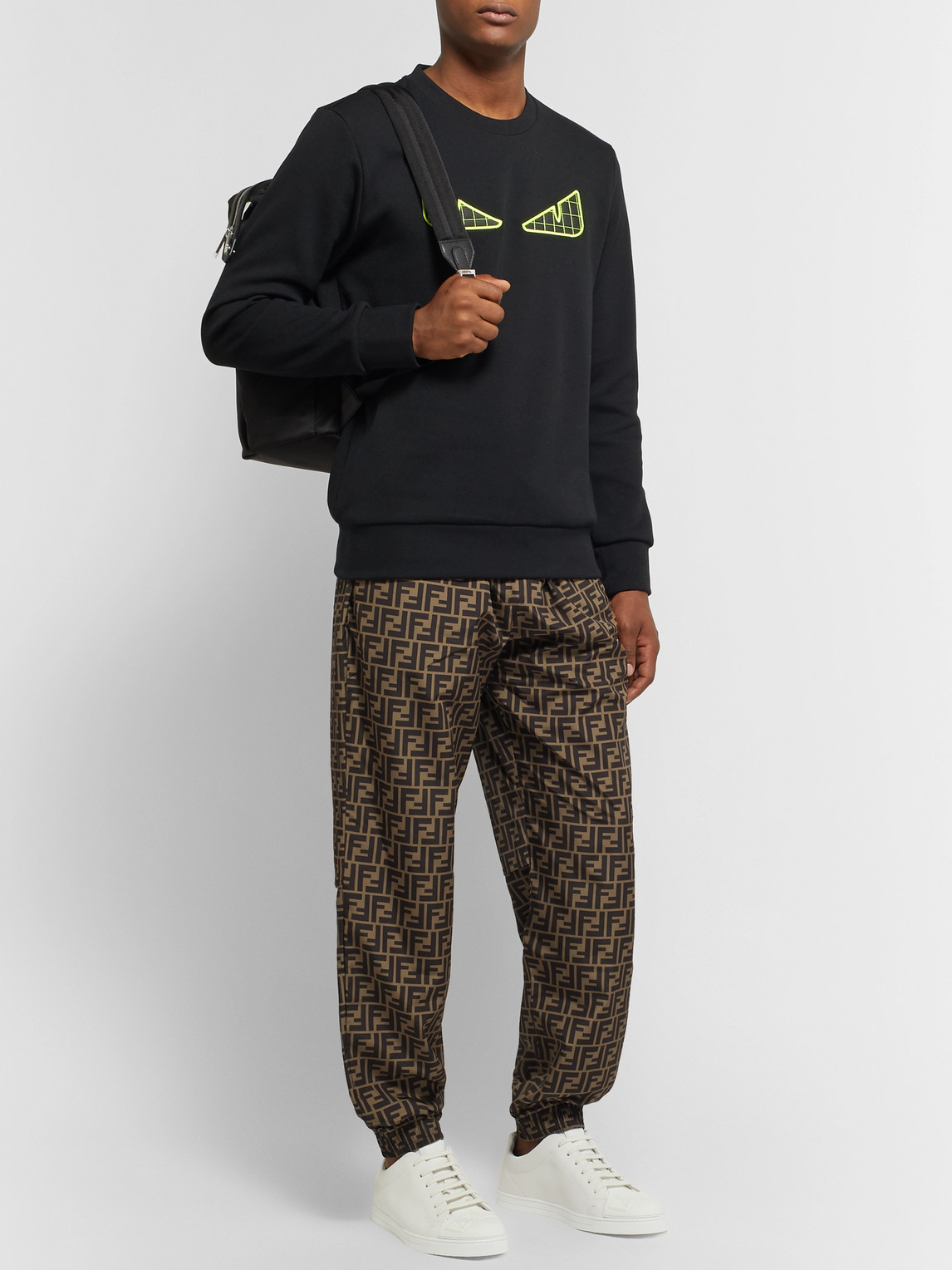Fendi Pants TAPERED LOGO-PRINT SHELL DRAWSTRING TROUSERS