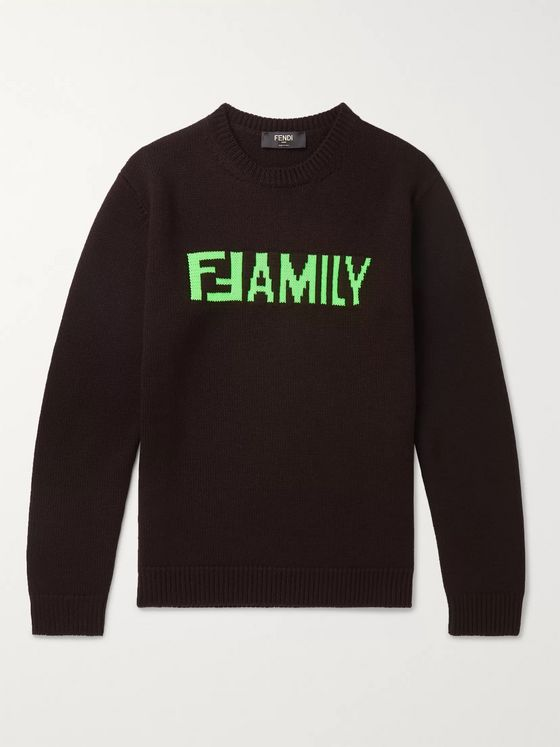 Fendi Slim-Fit Logo-Intarsia Virgin Wool Sweater