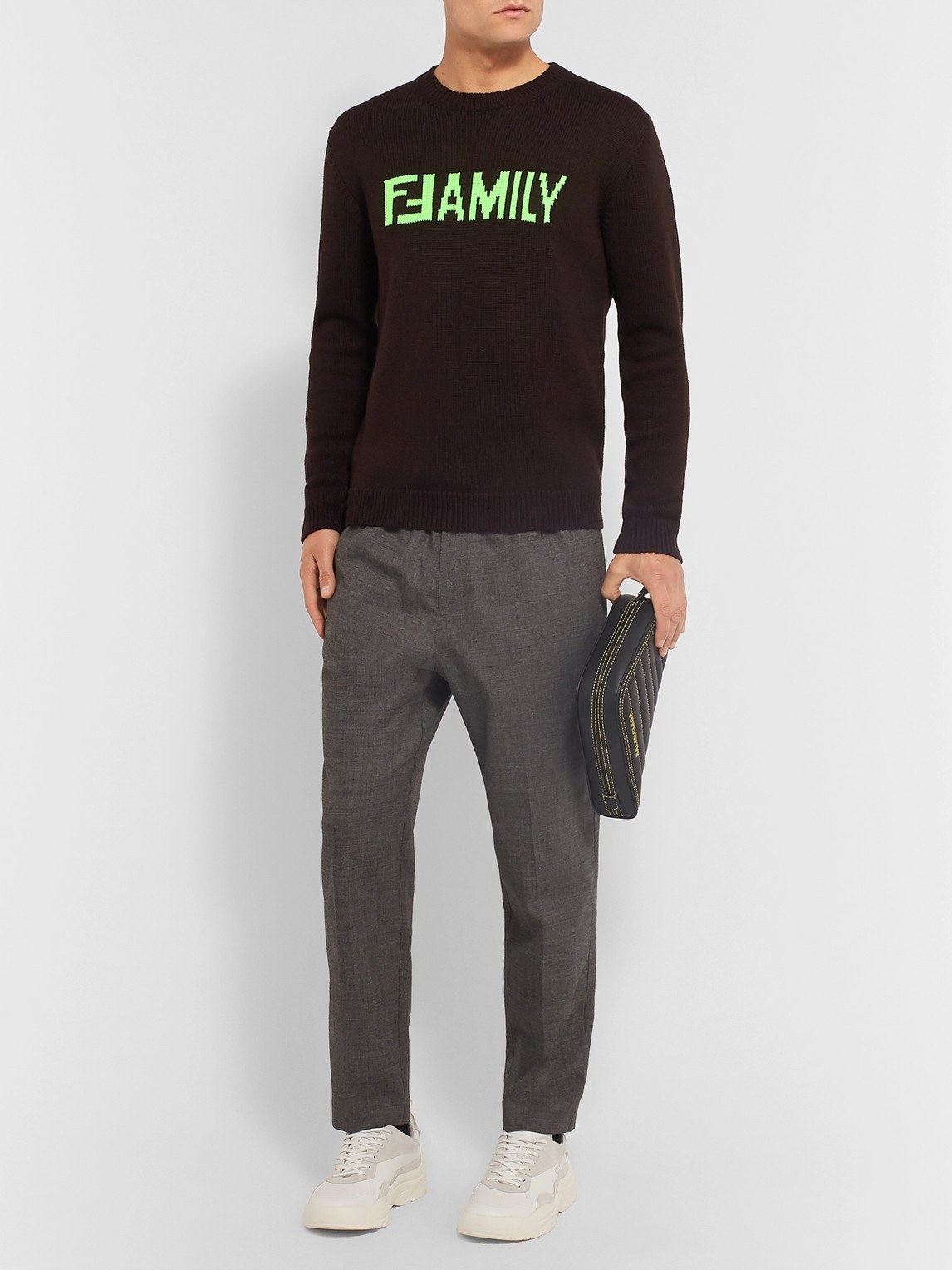 Fendi Sweaters SLIM-FIT LOGO-INTARSIA VIRGIN WOOL SWEATER