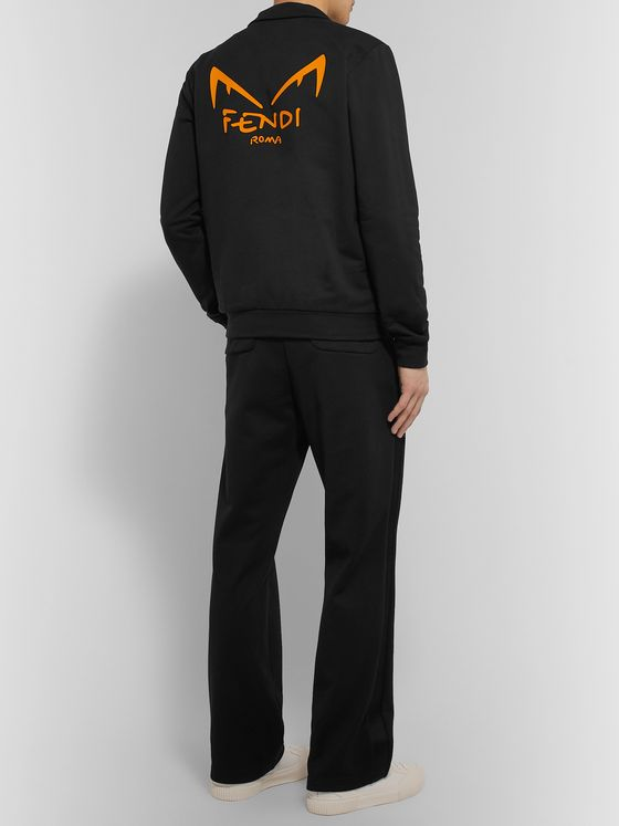 Fendi Slim-Fit Logo-Detail Cotton-Jersey Track Jacket