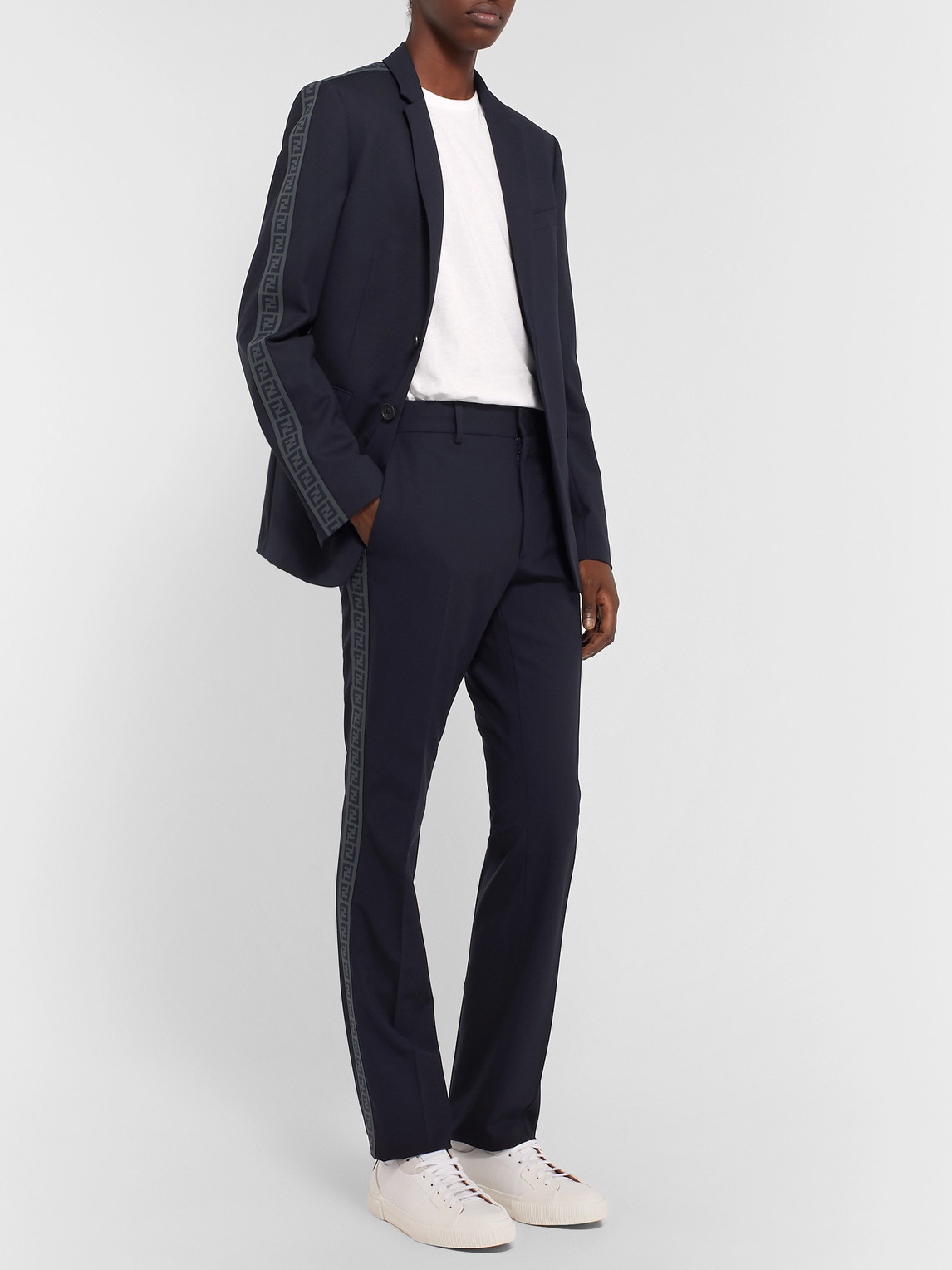 Fendi Suits NAVY LOGO JACQUARD-TRIMMED STRETCH-VIRGIN WOOL SUIT TROUSERS