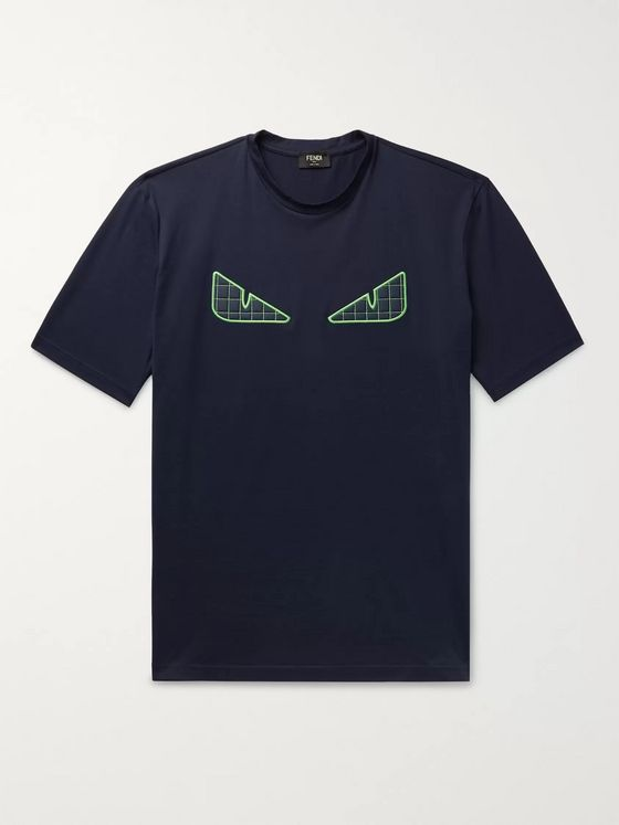 Fendi Appliquéd Cotton-Jersey T-Shirt