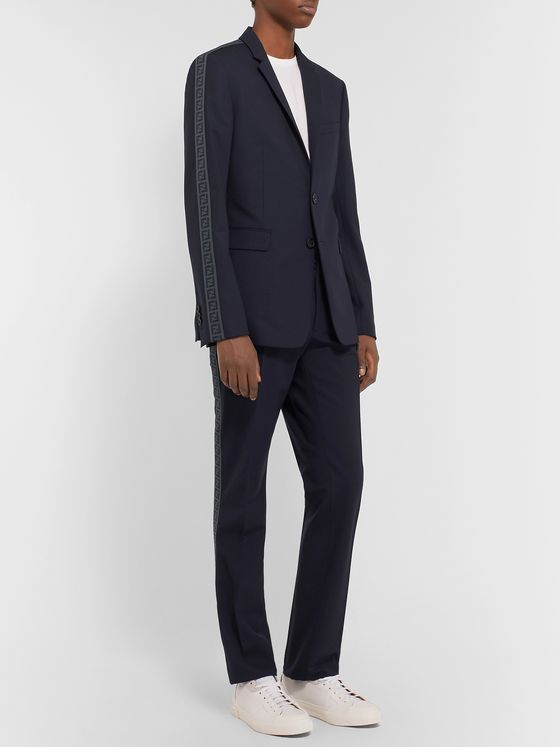Fendi Navy Logo Jacquard-Trimmed Stretch-Virgin Wool Suit Jacket