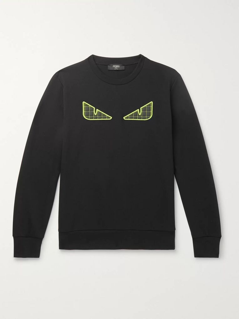 Fendi Appliquéd Cotton-Blend Tech-Jersey Sweatshirt