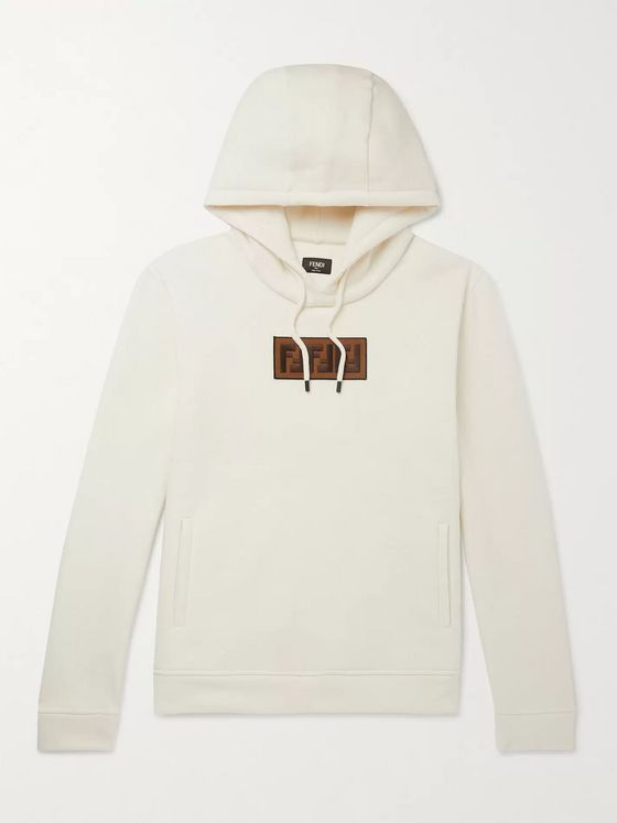 Fendi Logo-Appliquéd Fleece-Back Cotton, Cashmere and Wool-Blend Jersey Hoodie