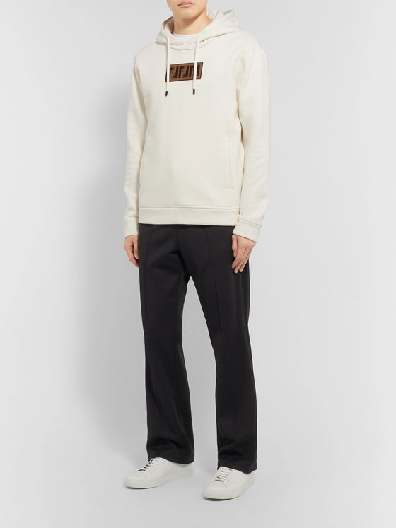 Fendi Logo-Appliquéd Fleece-Back Cotton, Wool, Silk and Cashmere-Blend Jersey Hoodie