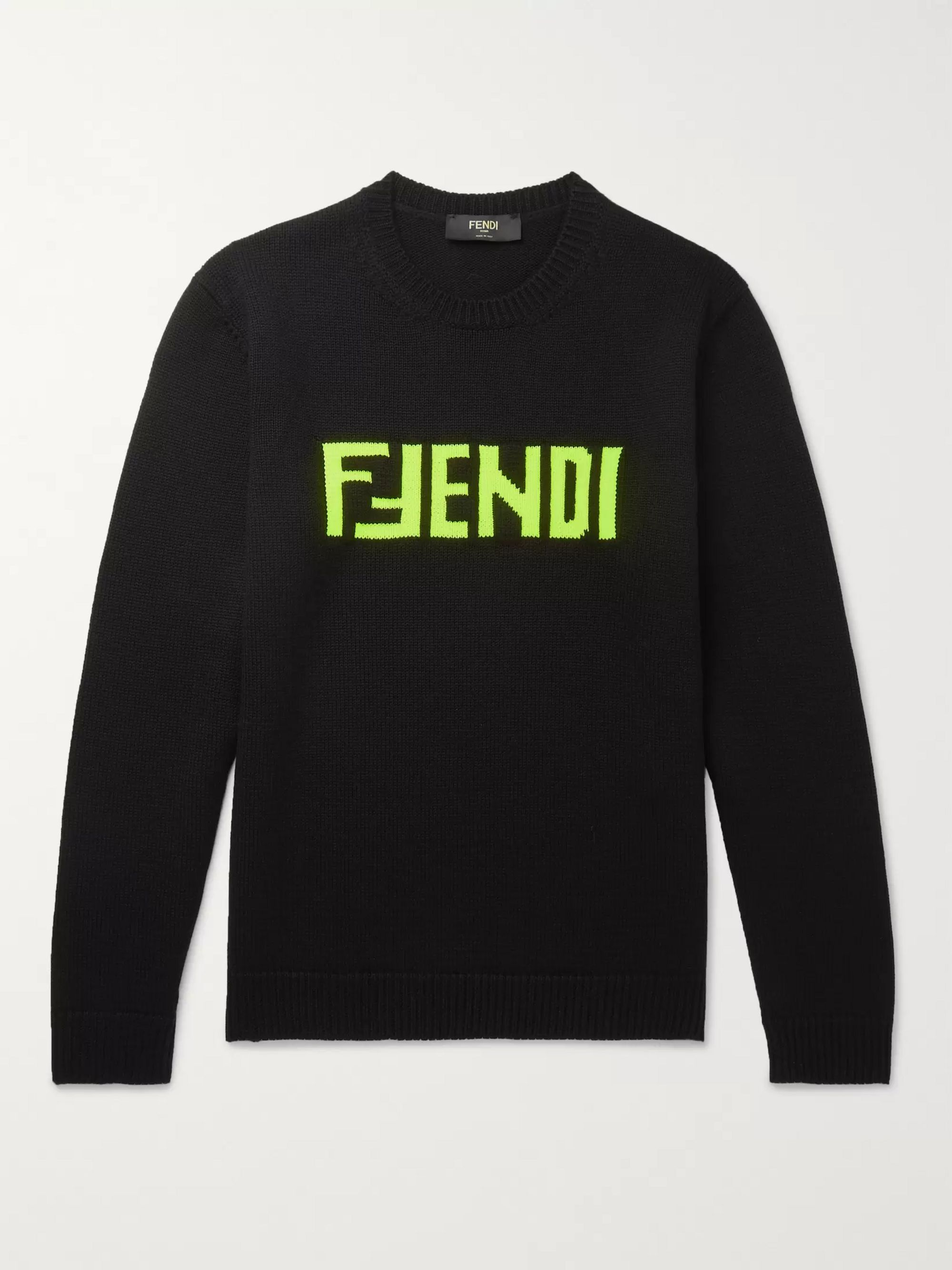 Fendi Slim-Fit Logo-Intarsia Wool Sweater