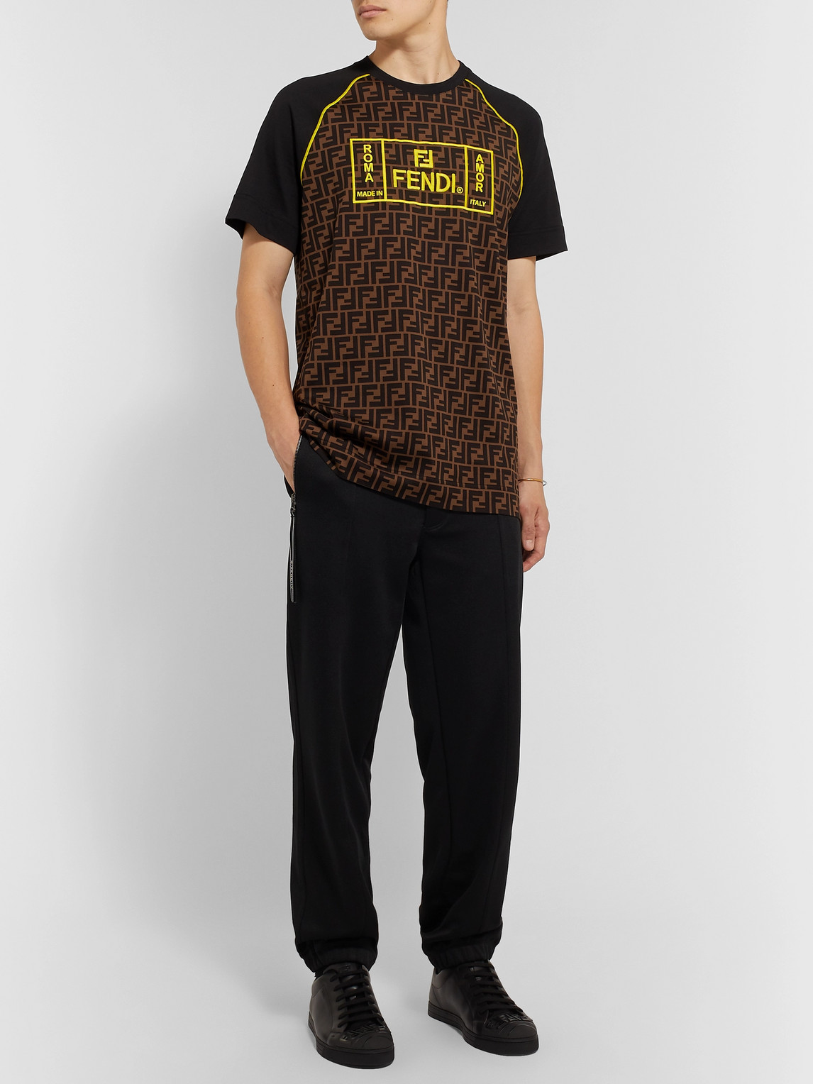 Fendi Tops LOGO-EMBROIDERED COTTON-JERSEY T-SHIRT